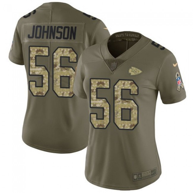 Women's Chiefs #56 Derrick Johnson Olive Camo Stitched NFL Limited 2017 Salute to Service Jersey