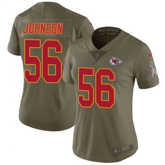 Women's Chiefs #56 Derrick Johnson Olive Stitched NFL Limited 2017 Salute to Service Jersey