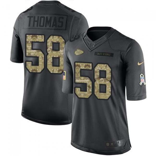 Nike Chiefs #58 Derrick Thomas Black Men's Stitched NFL Limited 2016 Salute to Service Jersey