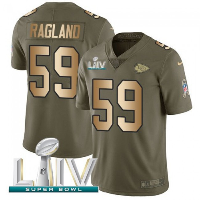 Nike Chiefs #59 Reggie Ragland Olive/Gold Super Bowl LIV 2020 Men's Stitched NFL Limited 2017 Salute To Service Jersey