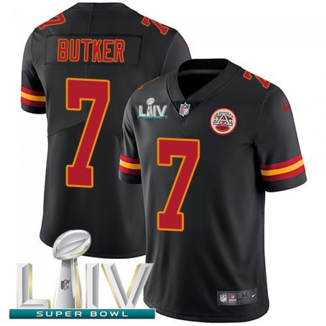 Nike Chiefs #7 Harrison Butker Black Super Bowl LIV 2020 Men's Stitched NFL Limited Rush Jersey