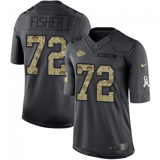 Nike Chiefs #72 Eric Fisher Black Men's Stitched NFL Limited 2016 Salute to Service Jersey