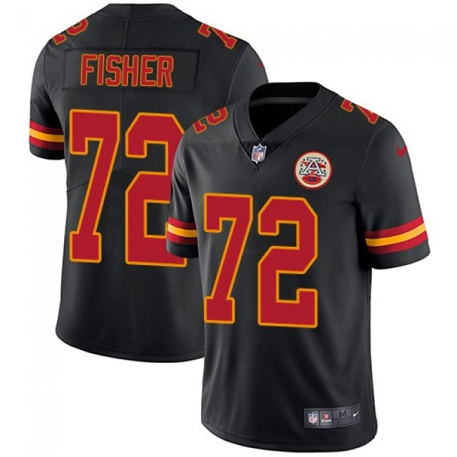 Nike Chiefs #72 Eric Fisher Black Men's Stitched NFL Limited Rush Jersey