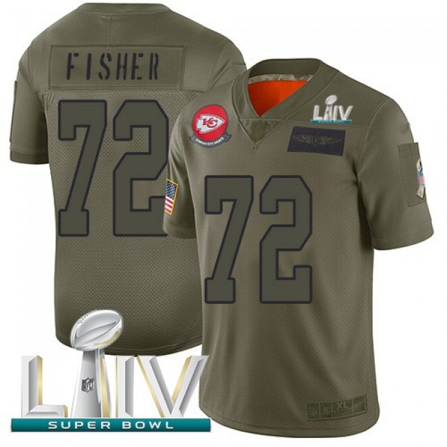 Nike Chiefs #72 Eric Fisher Camo Super Bowl LIV 2020 Men's Stitched NFL Limited 2019 Salute To Service Jersey