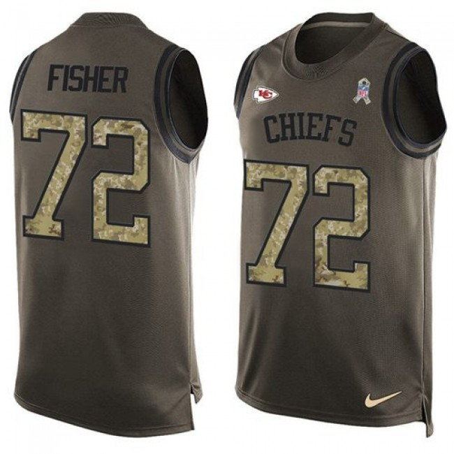 Nike Chiefs #72 Eric Fisher Green Men's Stitched NFL Limited Salute To Service Tank Top Jersey