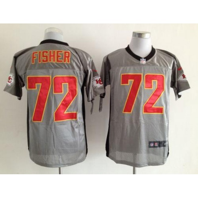 Nike Chiefs #72 Eric Fisher Grey Shadow Men's Stitched NFL Elite Jersey