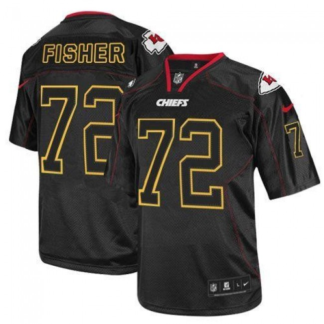 Nike Chiefs #72 Eric Fisher Lights Out Black Men's Stitched NFL Elite Jersey