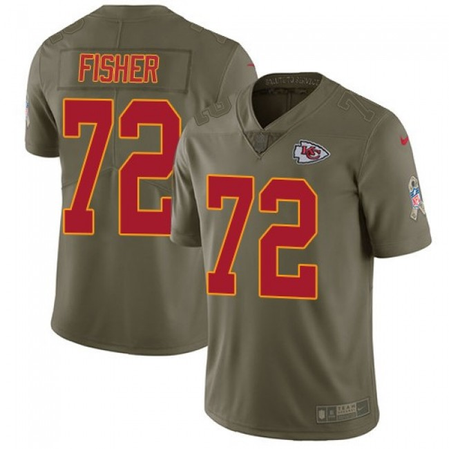 Nike Chiefs #72 Eric Fisher Olive Men's Stitched NFL Limited 2017 Salute to Service Jersey