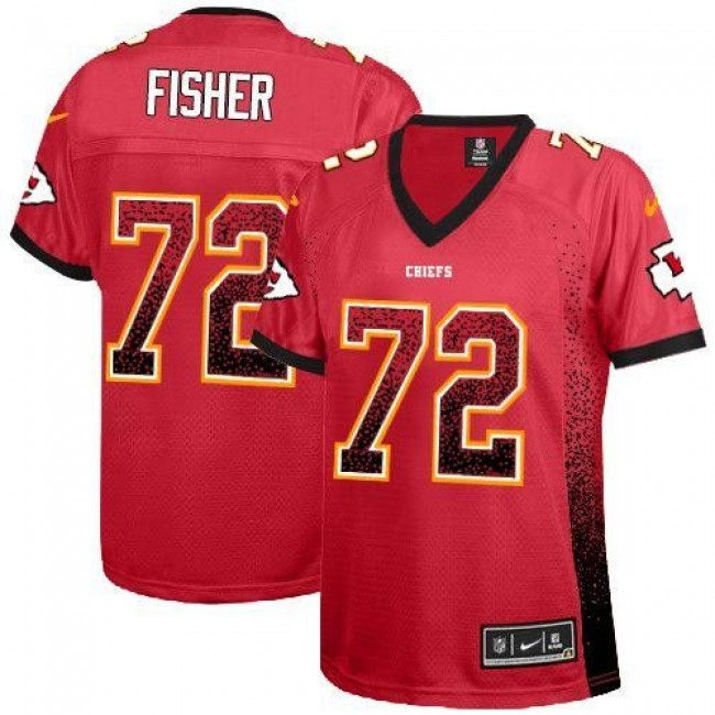Women's Chiefs #72 Eric Fisher Red Team Color Stitched NFL Elite Drift Jersey