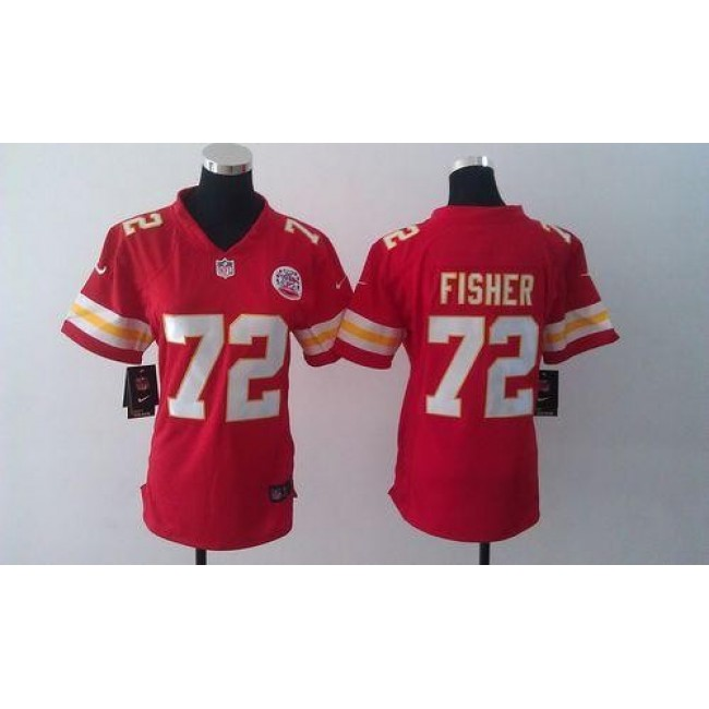 Women's Chiefs #72 Eric Fisher Red Team Color Stitched NFL Elite Jersey