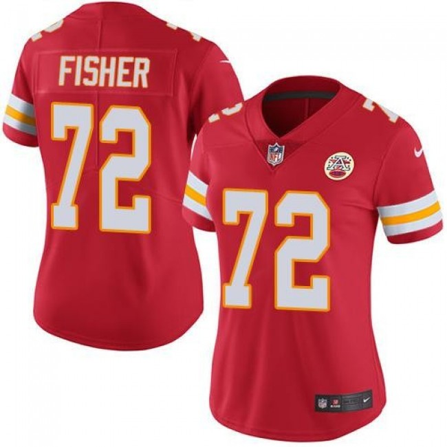 Women's Chiefs #72 Eric Fisher Red Team Color Stitched NFL Vapor Untouchable Limited Jersey