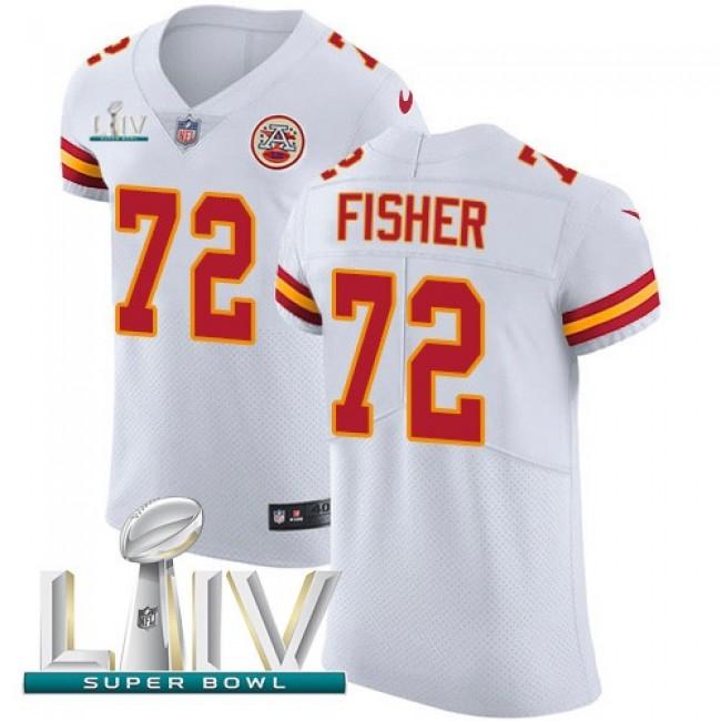 Nike Chiefs #72 Eric Fisher White Super Bowl LIV 2020 Men's Stitched NFL New Elite Jersey