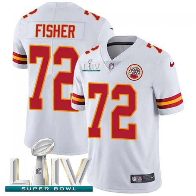 Nike Chiefs #72 Eric Fisher White Super Bowl LIV 2020 Men's Stitched NFL Vapor Untouchable Limited Jersey