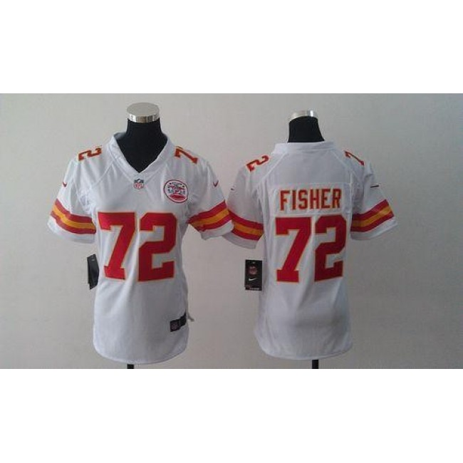 Women's Chiefs #72 Eric Fisher White Stitched NFL Elite Jersey