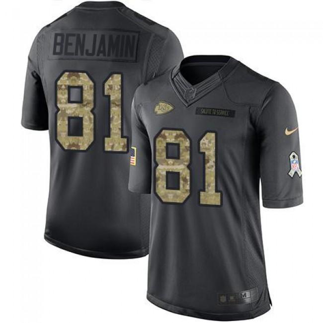 Nike Chiefs #81 Kelvin Benjamin Black Men's Stitched NFL Limited 2016 Salute to Service Jersey