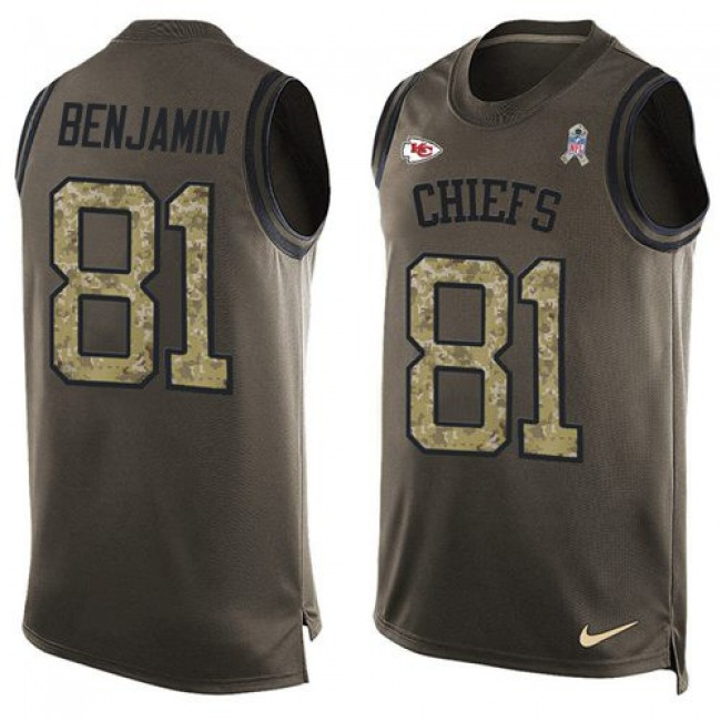 Nike Chiefs #81 Kelvin Benjamin Green Men's Stitched NFL Limited Salute To Service Tank Top Jersey