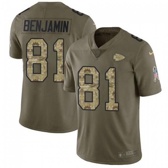 Nike Chiefs #81 Kelvin Benjamin Olive/Camo Men's Stitched NFL Limited 2017 Salute To Service Jersey