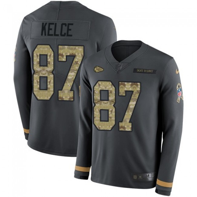 Nike Chiefs #87 Travis Kelce Anthracite Salute to Service Men's Stitched NFL Limited Therma Long Sleeve Jersey