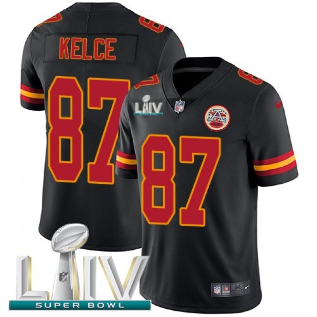 Nike Chiefs #87 Travis Kelce Black Super Bowl LIV 2020 Men's Stitched NFL Limited Rush Jersey