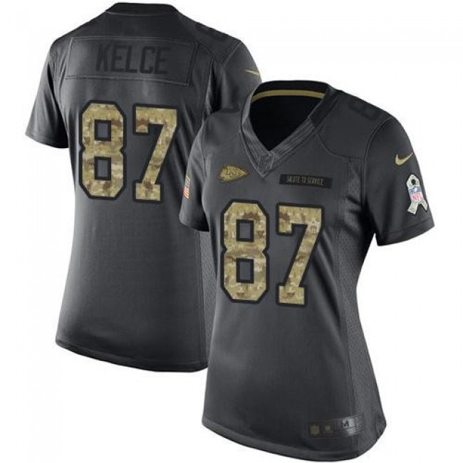 Women's Chiefs #87 Travis Kelce Black Stitched NFL Limited 2016 Salute to Service Jersey