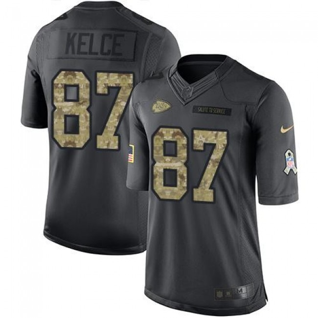 Kansas City Chiefs #87 Travis Kelce Black Youth Stitched NFL Limited 2016 Salute to Service Jersey