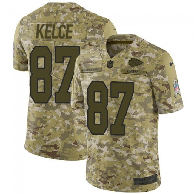 Nike Chiefs #87 Travis Kelce Camo Men's Stitched NFL Limited 2018 Salute To Service Jersey