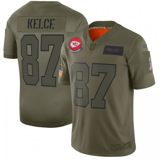 Nike Chiefs #87 Travis Kelce Camo Men's Stitched NFL Limited 2019 Salute To Service Jersey
