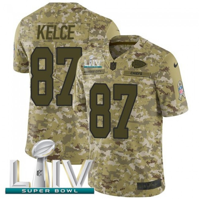 Nike Chiefs #87 Travis Kelce Camo Super Bowl LIV 2020 Men's Stitched NFL Limited 2018 Salute To Service Jersey