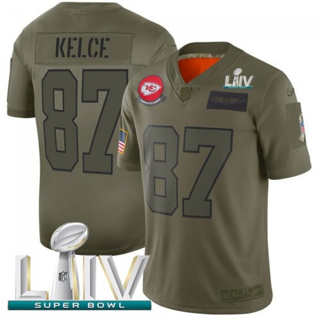 Nike Chiefs #87 Travis Kelce Camo Super Bowl LIV 2020 Men's Stitched NFL Limited 2019 Salute To Service Jersey