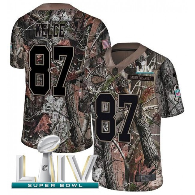 Nike Chiefs #87 Travis Kelce Camo Super Bowl LIV 2020 Men's Stitched NFL Limited Rush Realtree Jersey