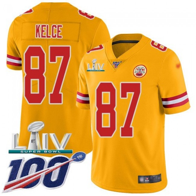 Nike Chiefs #87 Travis Kelce Gold Super Bowl LIV 2020 Men's Stitched NFL Limited Inverted Legend 100th Season Jersey