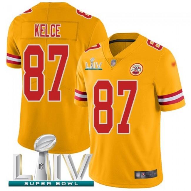 Nike Chiefs #87 Travis Kelce Gold Super Bowl LIV 2020 Men's Stitched NFL Limited Inverted Legend Jersey