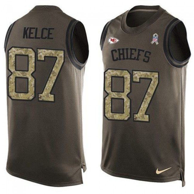 Nike Chiefs #87 Travis Kelce Green Men's Stitched NFL Limited Salute To Service Tank Top Jersey