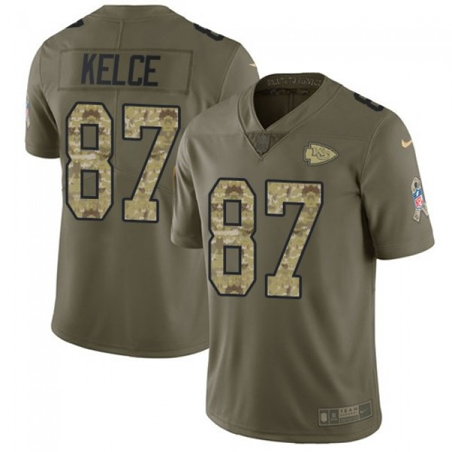 Nike Chiefs #87 Travis Kelce Olive/Camo Men's Stitched NFL Limited 2017 Salute To Service Jersey