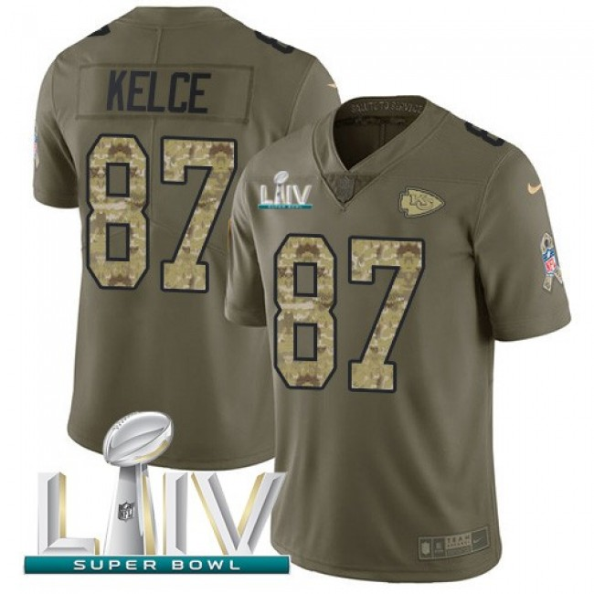 Nike Chiefs #87 Travis Kelce Olive/Camo Super Bowl LIV 2020 Men's Stitched NFL Limited 2017 Salute To Service Jersey