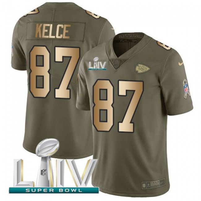 Nike Chiefs #87 Travis Kelce Olive/Gold Super Bowl LIV 2020 Men's Stitched NFL Limited 2017 Salute To Service Jersey