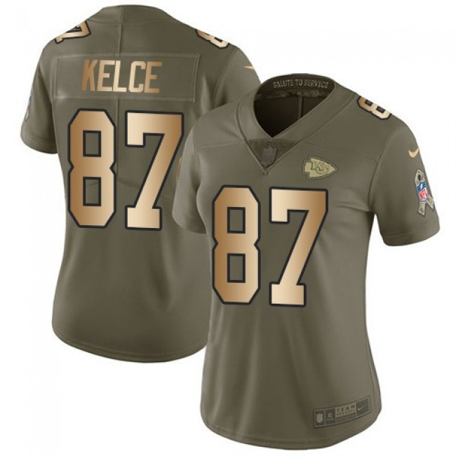 Women's Chiefs #87 Travis Kelce Olive Gold Stitched NFL Limited 2017 Salute to Service Jersey