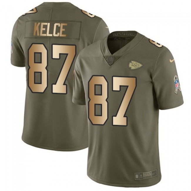 Kansas City Chiefs #87 Travis Kelce Olive-Gold Youth Stitched NFL Limited 2017 Salute to Service Jersey