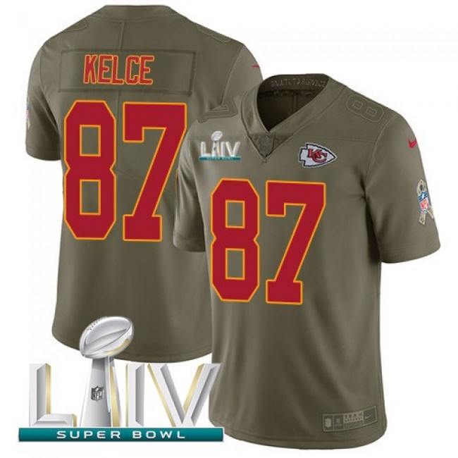 Nike Chiefs #87 Travis Kelce Olive Super Bowl LIV 2020 Men's Stitched NFL Limited 2017 Salute To Service Jersey