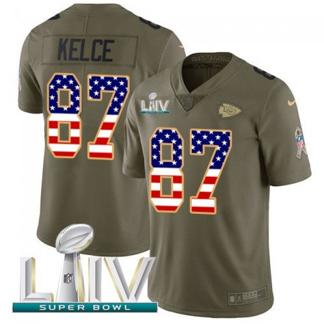 Nike Chiefs #87 Travis Kelce Olive/USA Flag Super Bowl LIV 2020 Men's Stitched NFL Limited 2017 Salute To Service Jersey
