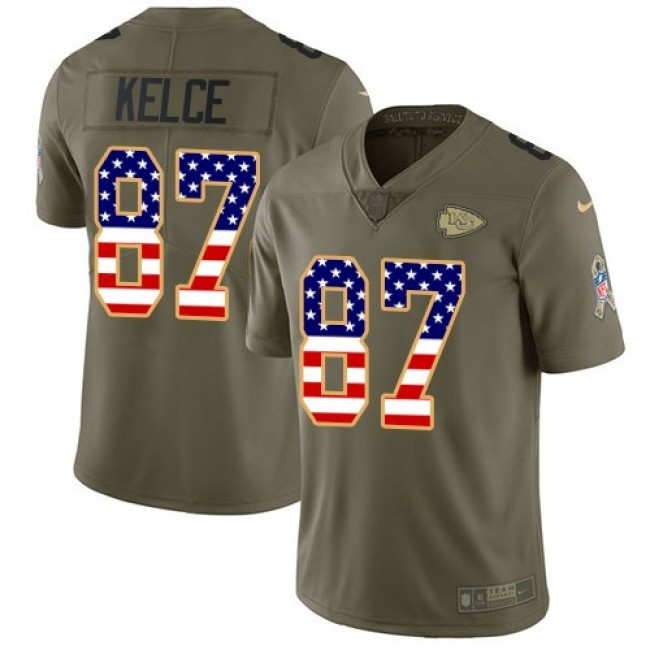 Kansas City Chiefs #87 Travis Kelce Olive-USA Flag Youth Stitched NFL Limited 2017 Salute to Service Jersey