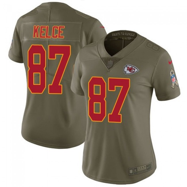 Women's Chiefs #87 Travis Kelce Olive Stitched NFL Limited 2017 Salute to Service Jersey