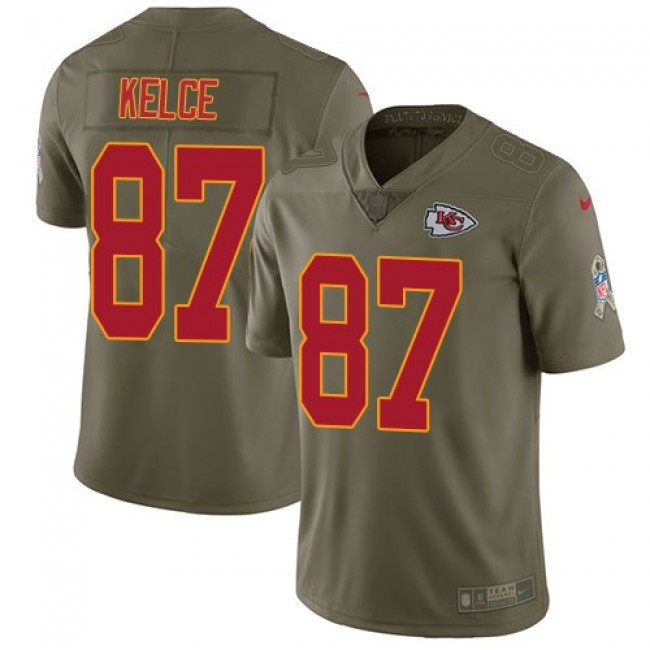 Kansas City Chiefs #87 Travis Kelce Olive Youth Stitched NFL Limited 2017 Salute to Service Jersey