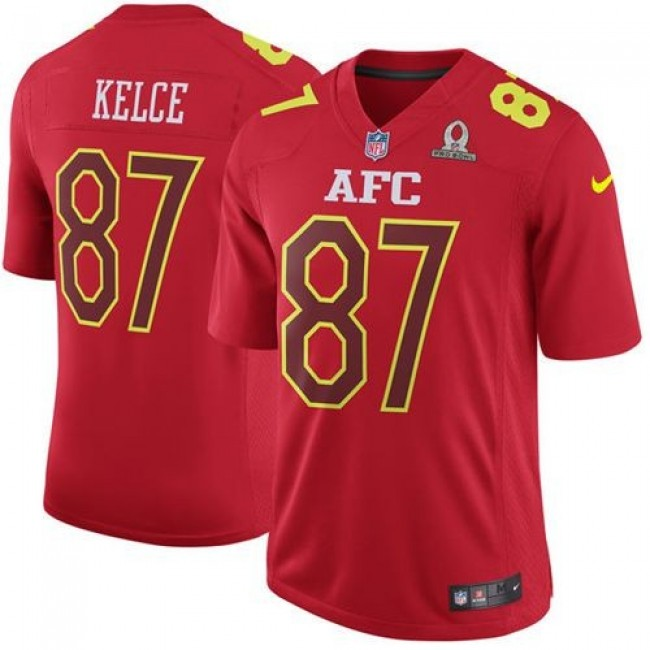Nike Chiefs #87 Travis Kelce Red Men's Stitched NFL Game AFC 2017 Pro Bowl Jersey