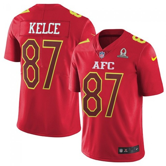 Nike Chiefs #87 Travis Kelce Red Men's Stitched NFL Limited AFC 2017 Pro Bowl Jersey