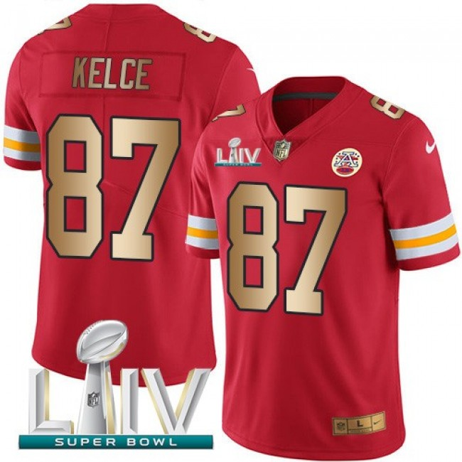 Nike Chiefs #87 Travis Kelce Red Super Bowl LIV 2020 Men's Stitched NFL Limited Gold Rush Jersey