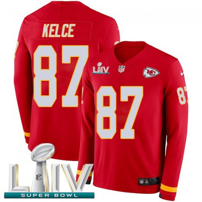 Nike Chiefs #87 Travis Kelce Red Super Bowl LIV 2020 Team Color Men's Stitched NFL Limited Therma Long Sleeve Jersey