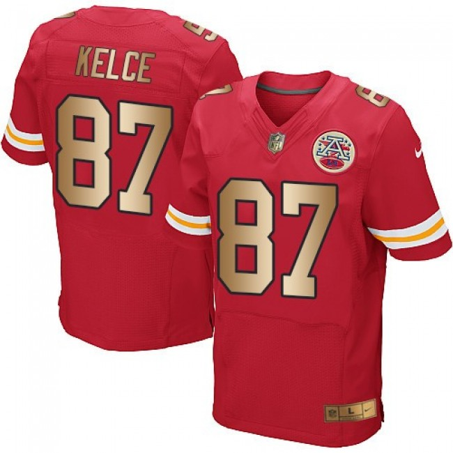 Nike Chiefs #87 Travis Kelce Red Team Color Men's Stitched NFL Elite Gold Jersey