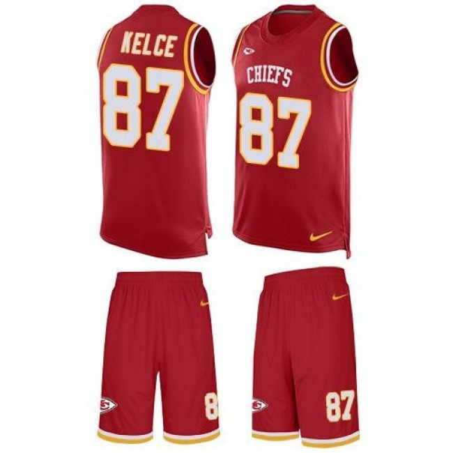 Nike Chiefs #87 Travis Kelce Red Team Color Men's Stitched NFL Limited Tank Top Suit Jersey