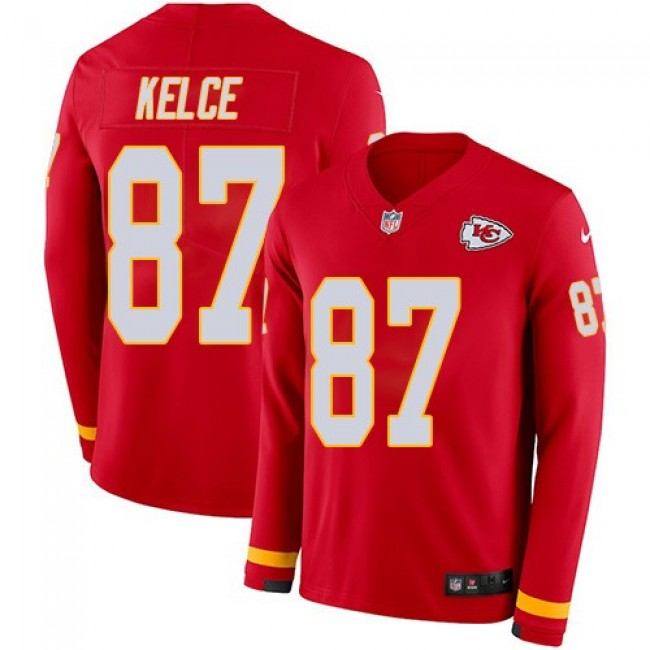 Nike Chiefs #87 Travis Kelce Red Team Color Men's Stitched NFL Limited Therma Long Sleeve Jersey